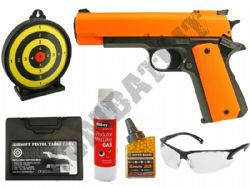 HG123 BUNDLE 1911 Gas Airsoft Pistol BB Gun with Target, Pellets, Gas, Case & Safety Glasses